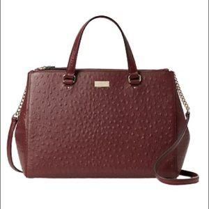 NWT Kate Spade Cherrywood Ostrich Leather Satchel